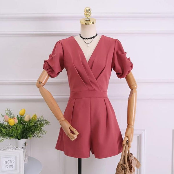 (Pre-Order) Balloon Sleeves V Neck Romper In Red-Pink