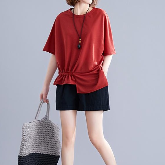 (Pre-Order) Asymmetrical Side Gather Loose Fit Top in Red