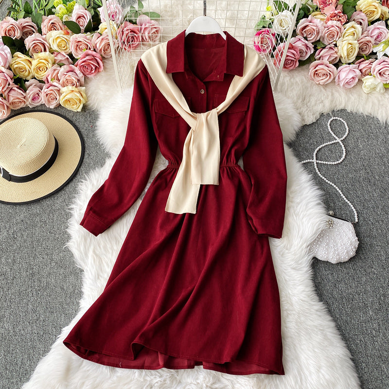 (Pre Order) Mock 2 Piece Collar Shirt Dress Long Sleeve Dress in Red