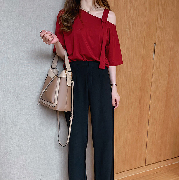 (Pre-Order) Single Cold-Shoulder Loose Fit Top in Red