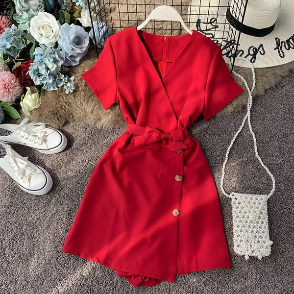 (Pre-Order) V-Neck Overlap Side Button Romper in Red