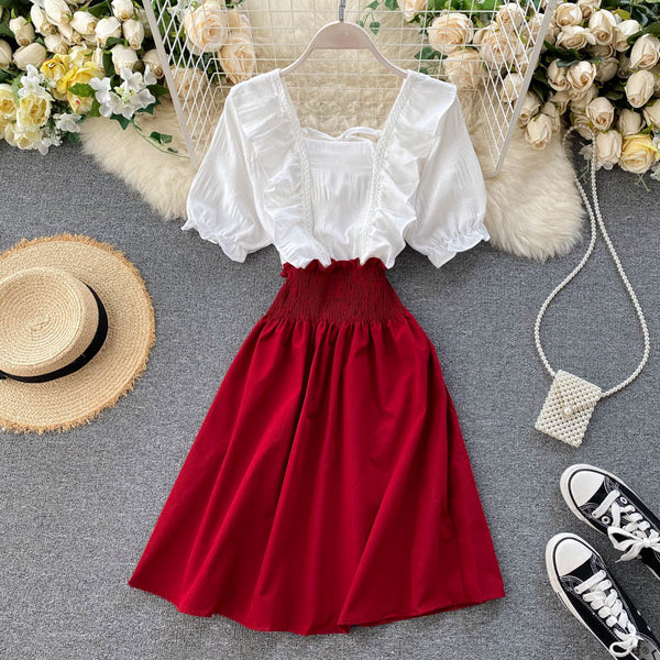 (Pre-Order) Ruffles Mock 2 Piece Sleeve Patched Dress in Red