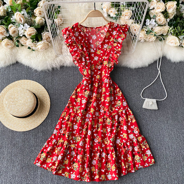 (Pre-Order) Floral V Neck Ruffles Sleeve Gypsy Midi Dress in Red