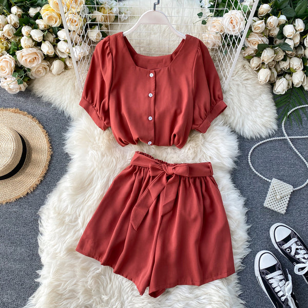 (Pre-Order) 2 Piece Balloon Sleeves Wide Leg Suit in Red