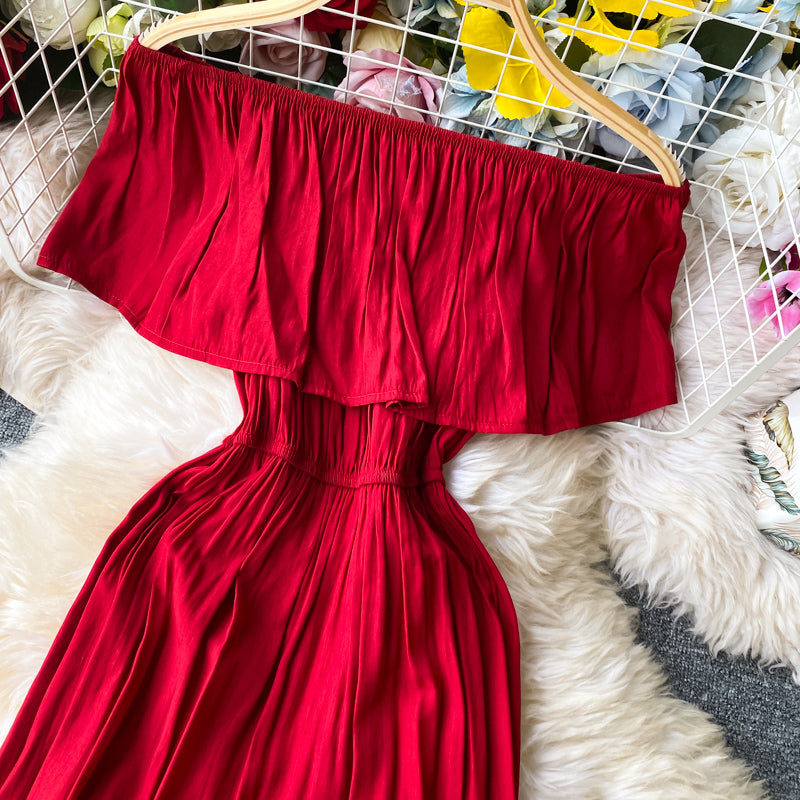 (Pre-Order) Off-Shoulder Ruffles Gypsy Dress in Red