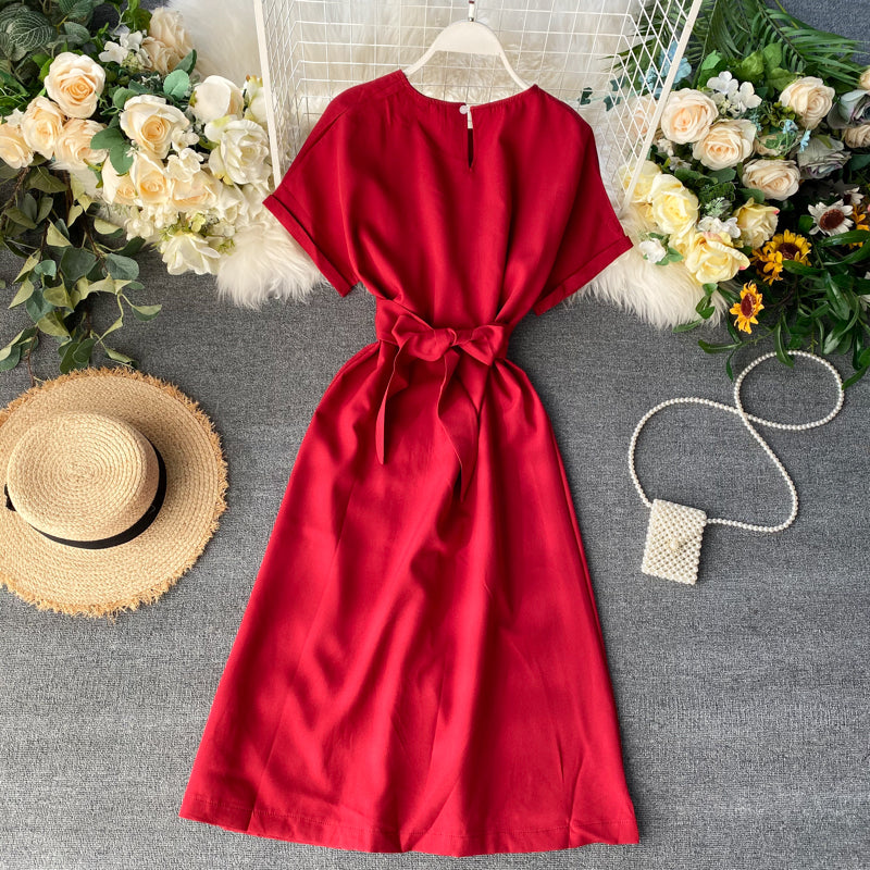 (Pre-Order) Bat Wing Front Slit Midi Dress in Red