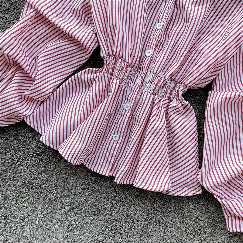 (Pre-Order) Stripes Collared Long Balloon Sleeve Top in Red