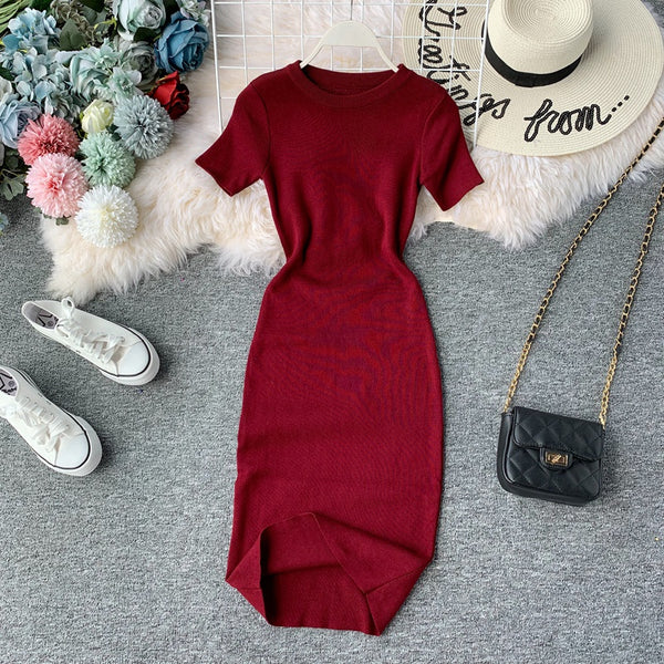 (Pre-Order) Round Neck Knit Sleeve Bodycon Midi Dress in Red