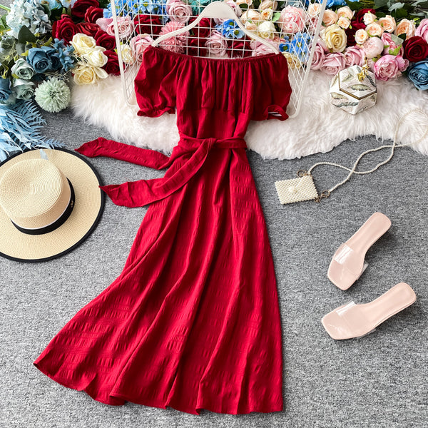 (Pre-Order) Off-Shoulder Ribbon Tie Balloon Sleeve Midi Dress in Red