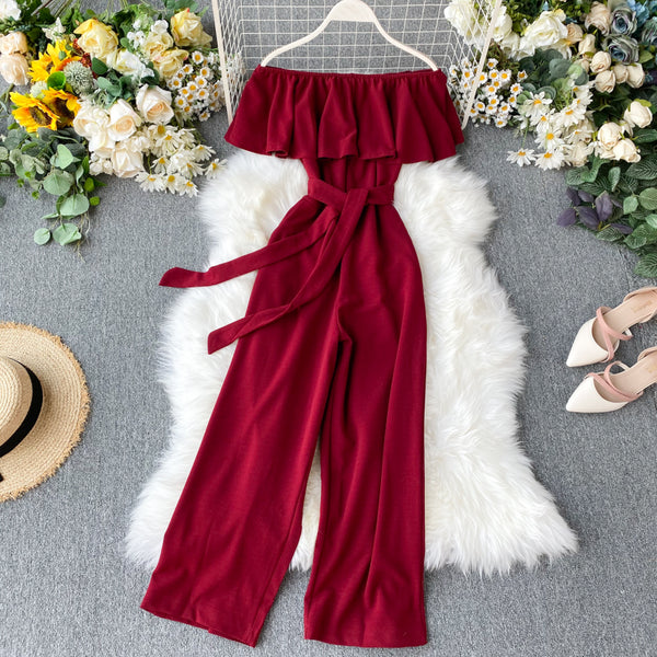 (Pre-Order) Off-Shoulder Ruffles High Waist Wide Leg Jumpsuit in Red