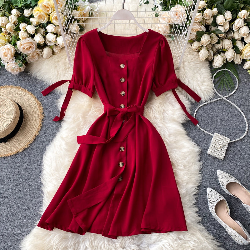 (Pre-Order) Ribbon Tie Square Neck Button Up Balloon Sleeve Dress in Red