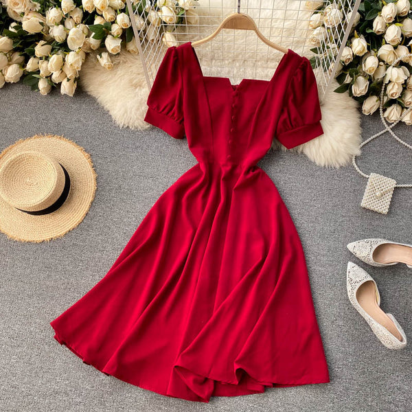 (Pre-Order) Square Neck V Cut-Out Balloon Sleeve Flare Midi Dress in Red
