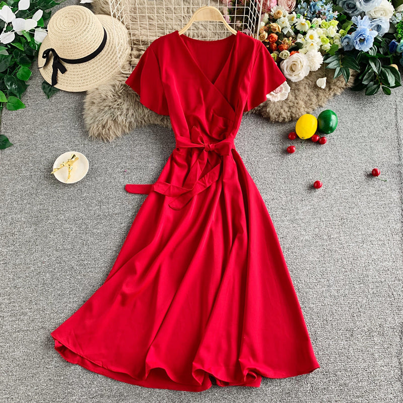 (Pre-Order) Overlap Ribbon Short Sleeve Midi Flare Dress in Red