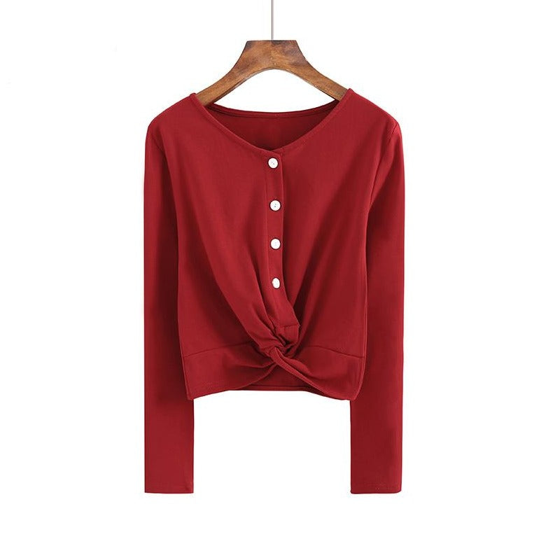 (Pre-Order) Button Up Loop Long Sleeve Cropped Top in Red