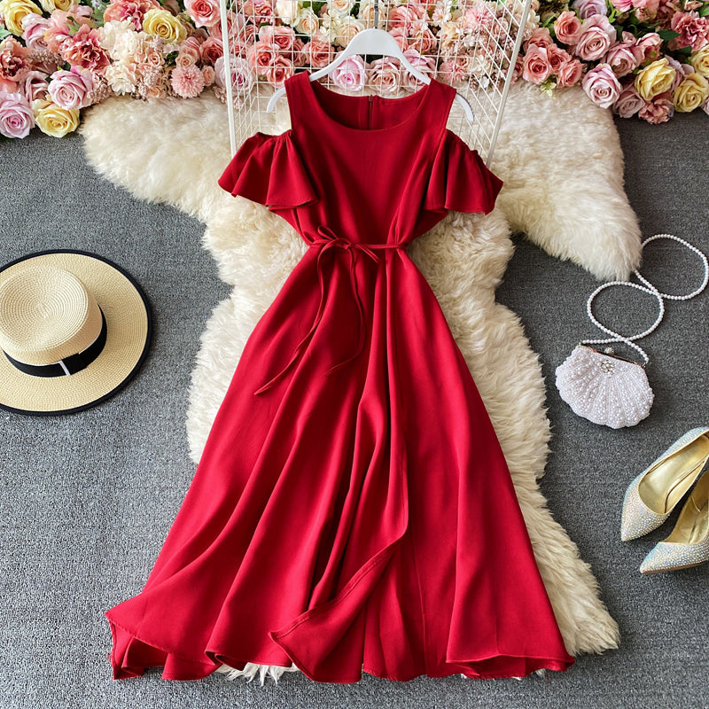 (Pre-Order) Cold-Shoulder Front Slit Flare Dress in Red