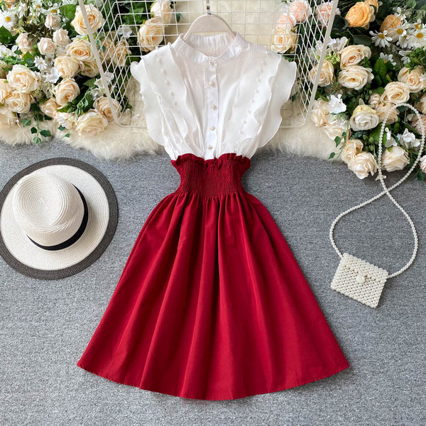 (Pre-Order) Mock 2 Piece Pearl Ruffles Sleeve Patched Dress in Red