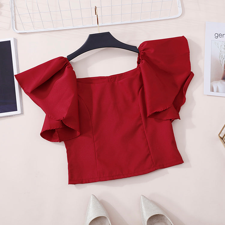 (Pre-Order) Off-Shoulder Ruffles Sleeve Cropped Top in Red