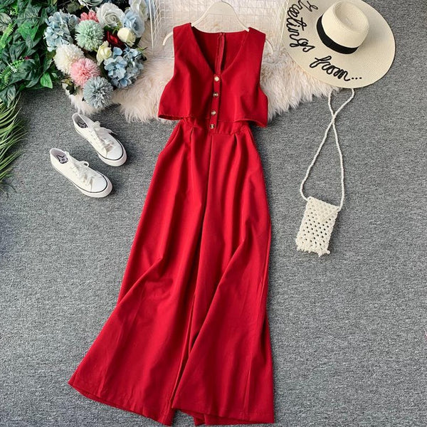 (Pre-Order) Sleeveless V Neck High Waist Wide Leg Jumpsuit in Red