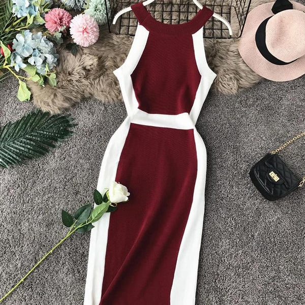 (Pre Order) Contrast Halter Bodycon Midi Dress in Red