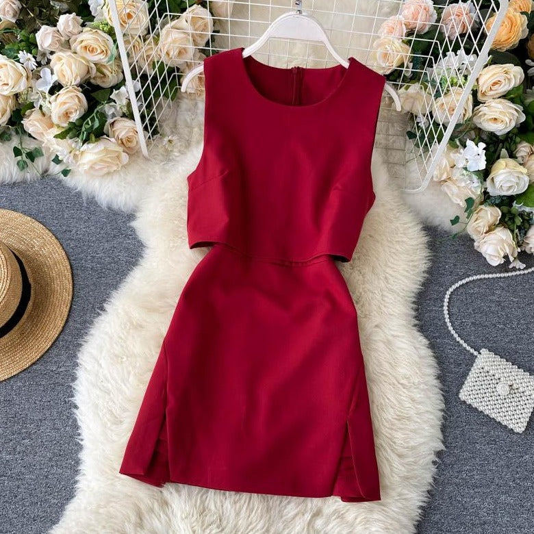 (Pre-Order) High Waist Front Cut-Out Romper in Red