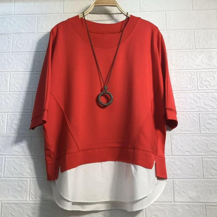 (Pre-Order) Mock 2 Piece Contrast Loose Fit Top in Red