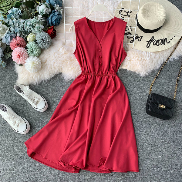 (Pre Order) Sleeveless V Neck High Waist Dress In Red
