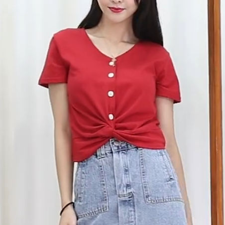 (Pre-Order) Sleeve V Neck Button Loop Cropped Top in Red