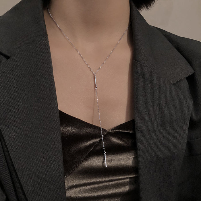 (Pre-Order) Korean Style Minimalist Double Bar Long Necklace in Silver