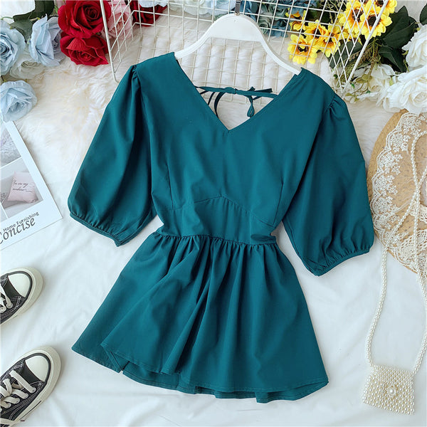 (Pre-Order) Asymmetrical V Neck Peplum Back Cut-Out Top in Teal