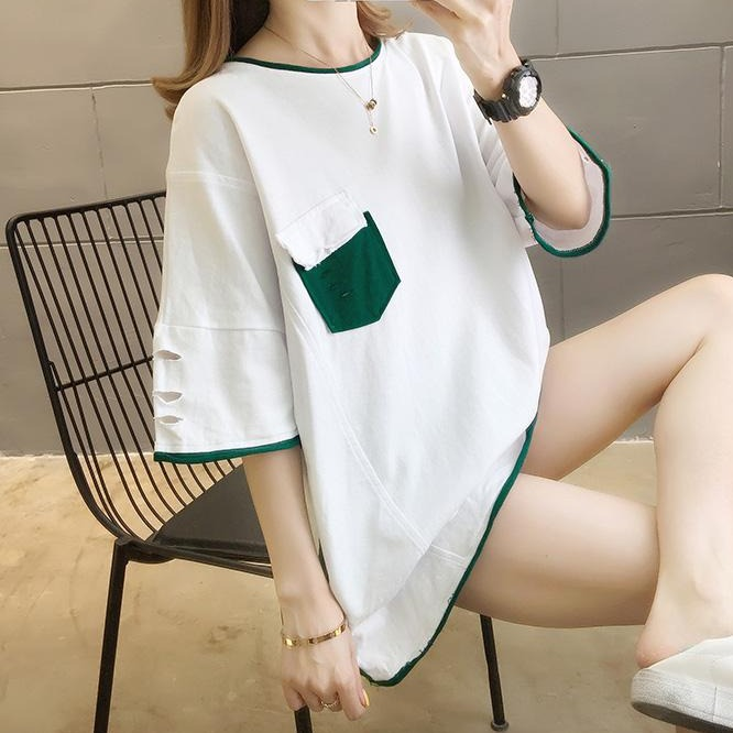 (Pre-Order) Sleeve Contrast Patch Pocket Loose Fit Top in White
