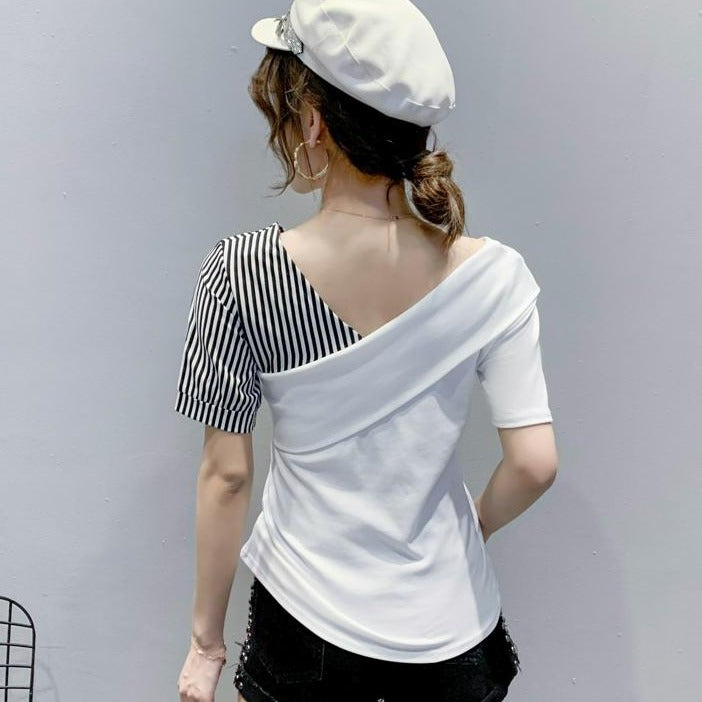 (Pre-Order) Single Off-Shoulder Contrast Top in White