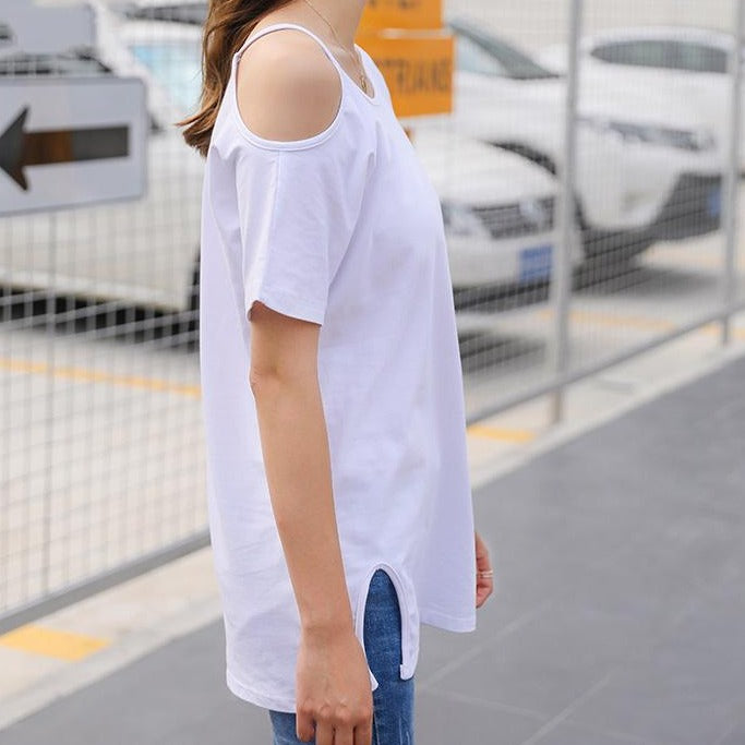 (Pre-Order) Basic Round Neck Single Cold-Shoulder Loose Fit Top in White