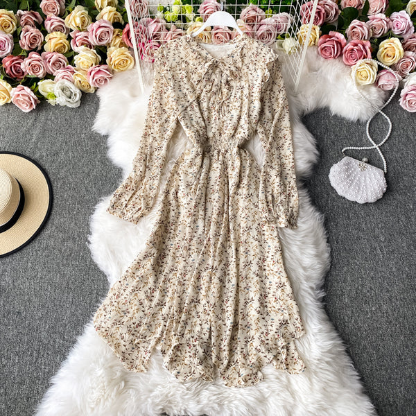 (Pre-Order) Floral Bow Knot Long Puff Sleeve Midi Dress in White