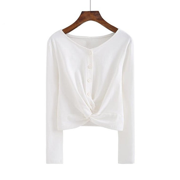 (Pre-Order) Button Up Loop Long Sleeve Cropped Top in White