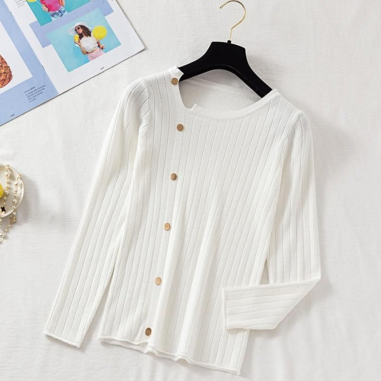 (Pre-Order) Asymmetrical Collar Long Sleeve Knit Side Buttons Top in White