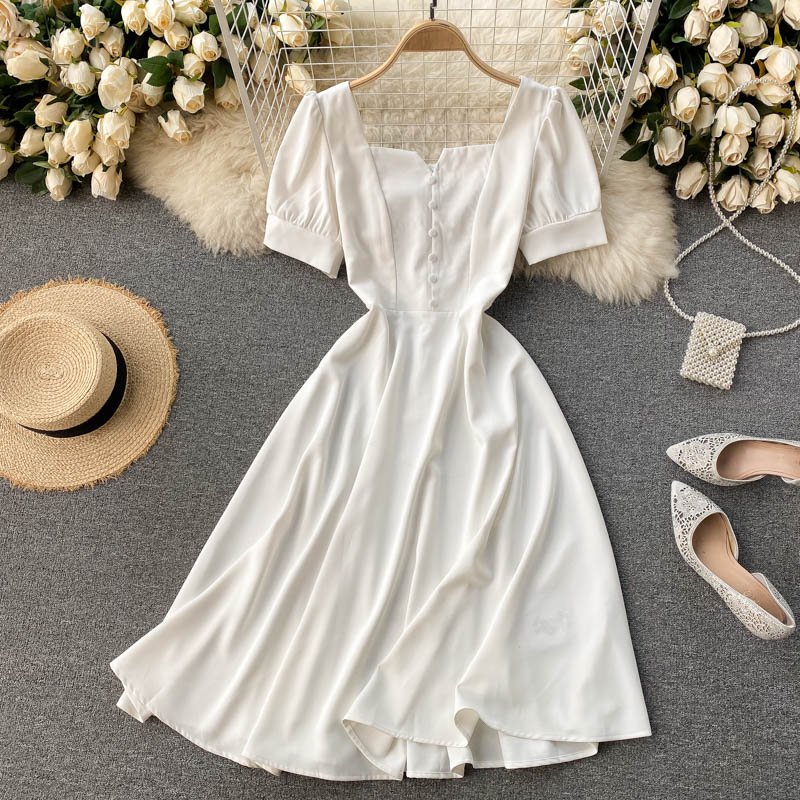 (Pre-Order) Square Neck V Cut-Out Balloon Sleeve Flare Midi Dress in White