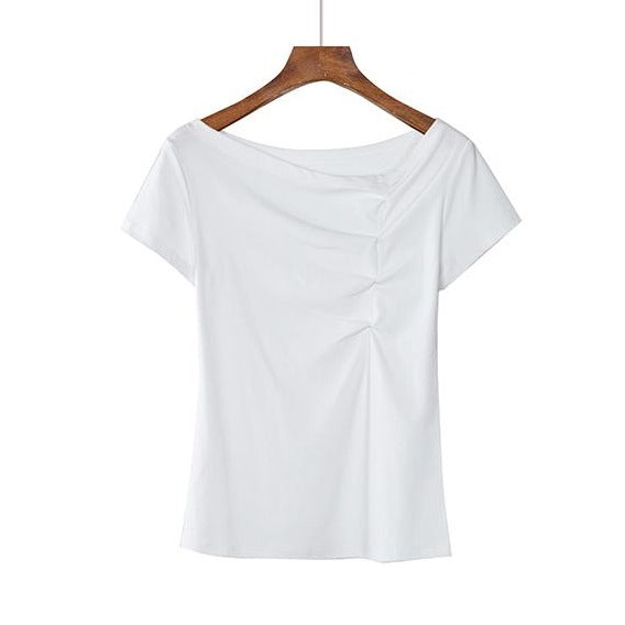 (Pre-Order) 2 Way Wear Asymmetrical Wide Neck / Toga Top in White