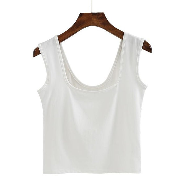 (Pre-Order) Basic U-Neck Sleeveless Cropped Top in White