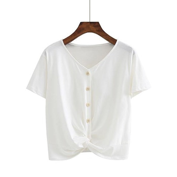 (Pre-Order) Sleeve V Neck Button Loop Cropped Top in White