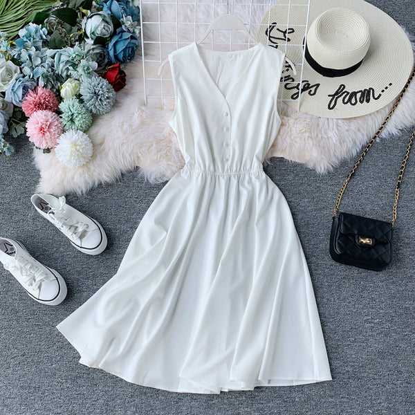 (Pre Order) Sleeveless V Neck High Waist Dress In White