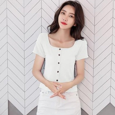 (Pre-Order) Button Up Short Sleeve Square Neck Top in White