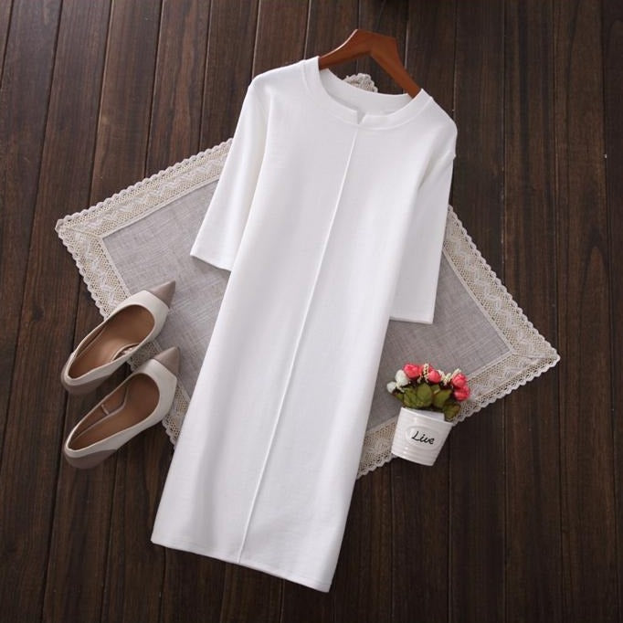 (Pre-Order) Quarter Sleeve Collar Cut-Out Tee Dress in White