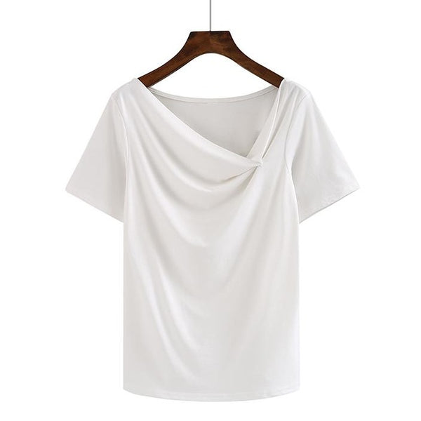 (Pre-Order) Asymmetrical Slanted Neck Top in White
