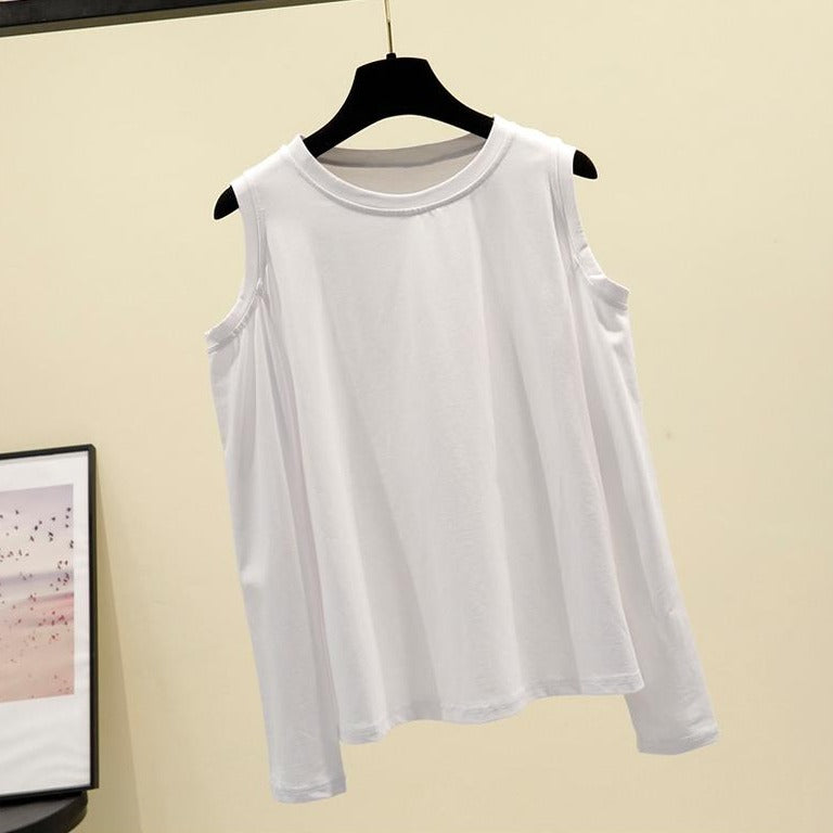 (Pre-Order) Basic Cold Shoulder Long Sleeve Top in White