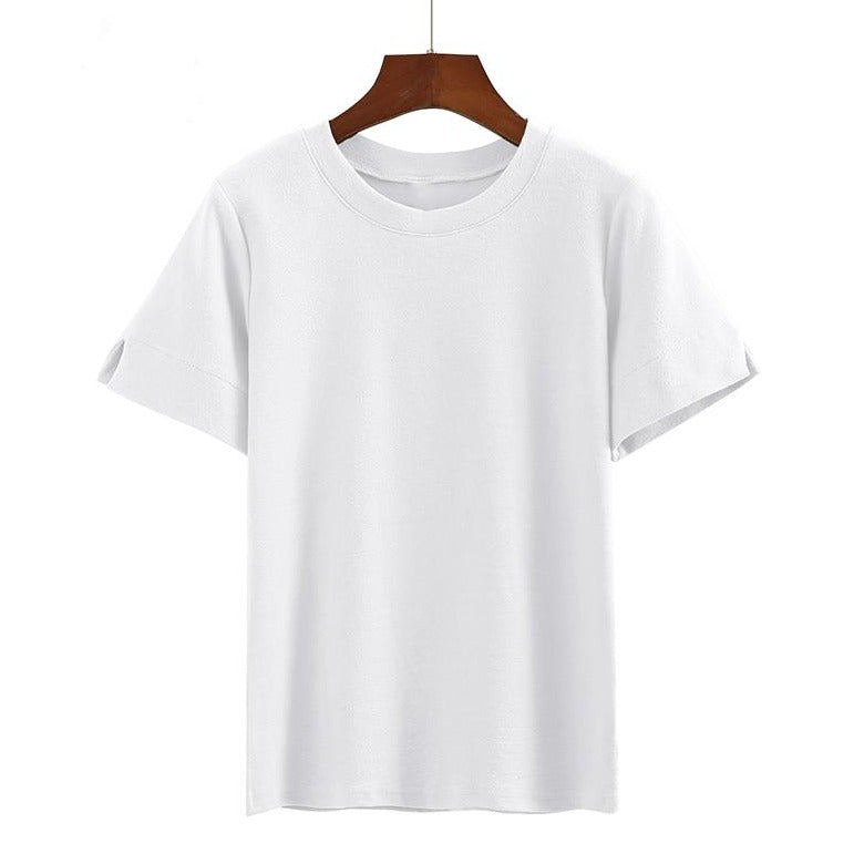 (Pre-Order) Basic Round Neck Sleeve Cut-Out Top in White