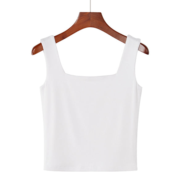 (Pre-Order) Basic Square Neck Sleeveless Cropped Top in White