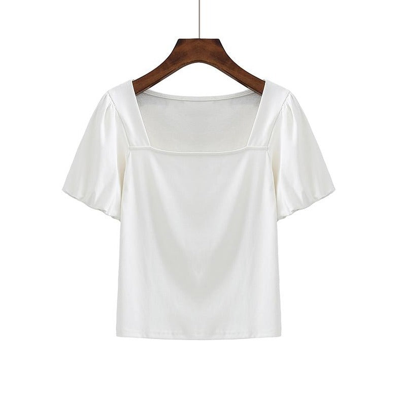 (Pre-Order) Basic Square Neck Puff Sleeve Top in White