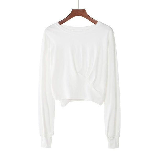 (Pre-Order) Basic Cropped Loose Fit Long Sleeve Top in White