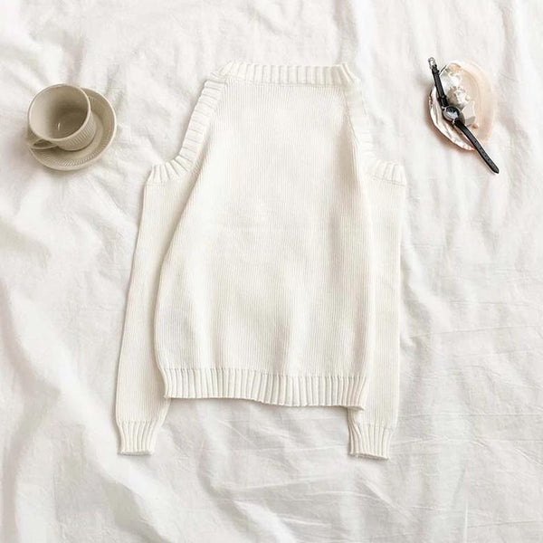 (Pre-Order) Long Sleeve Knit Cold-Shoulder Top in White