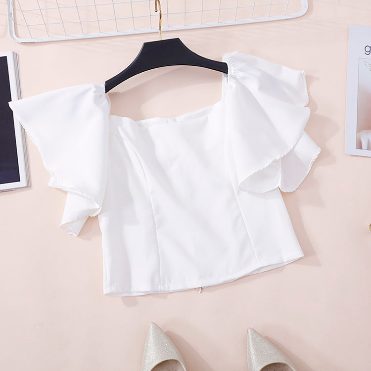 (Pre-Order) Off-Shoulder Ruffles Sleeve Cropped Top in White